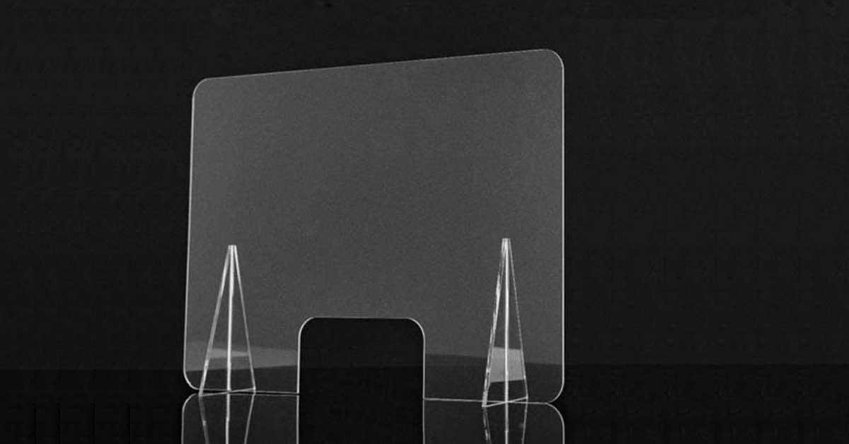 Mampara de Metacrilato mostrador 4mm Protecci/ón para oficinas Mostradores Manicura Sobremesa Material Transparente 65x50