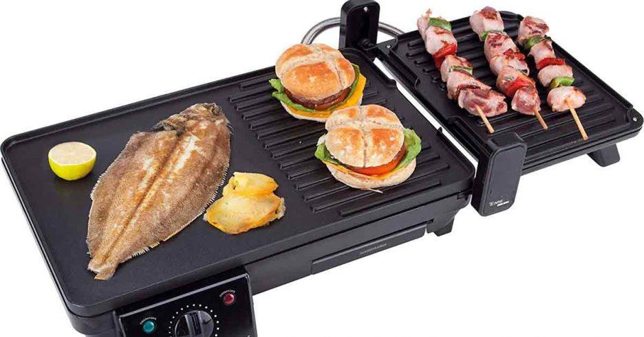 Grill eléctrico para preparar comida a la plancha.
