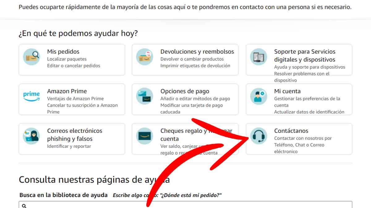 Contactar con Amazon desde el ordenador