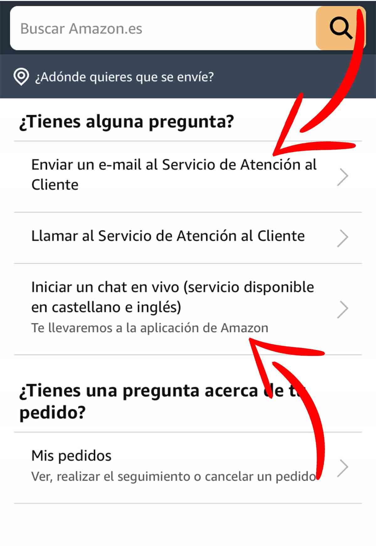 Otras vías para contactar con Amazon