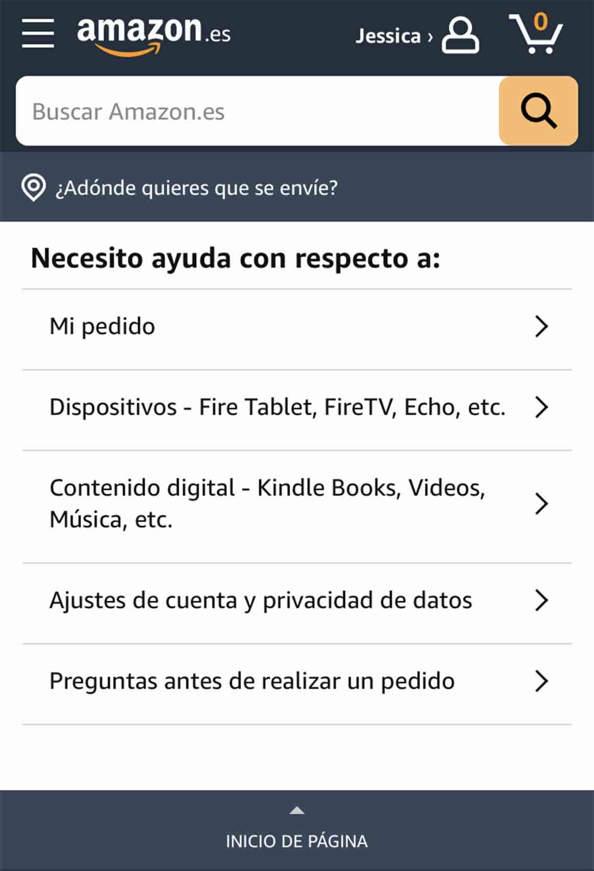 Descripción del problema para contacta con Amazon