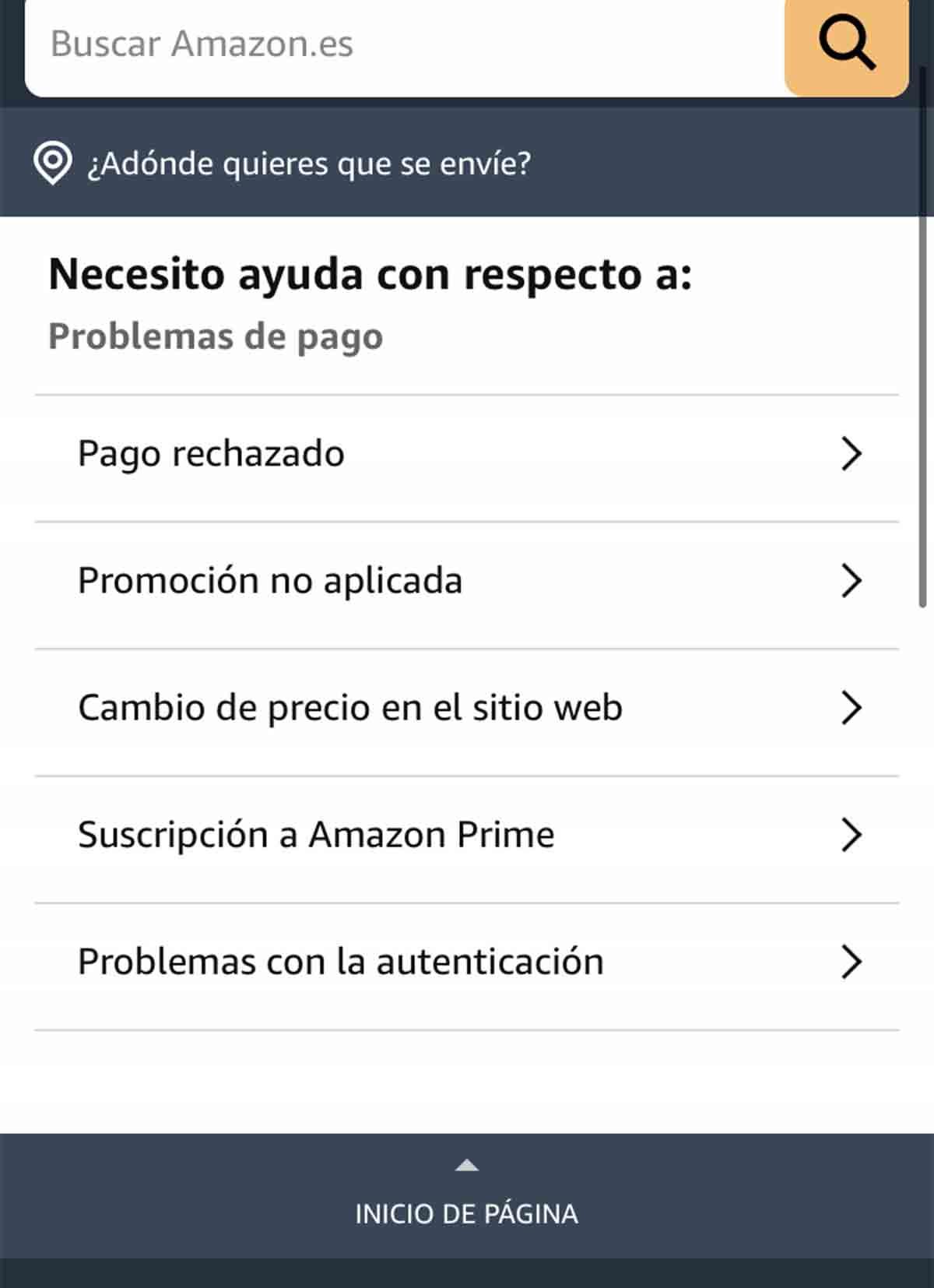 Pago rechazado en Amazon