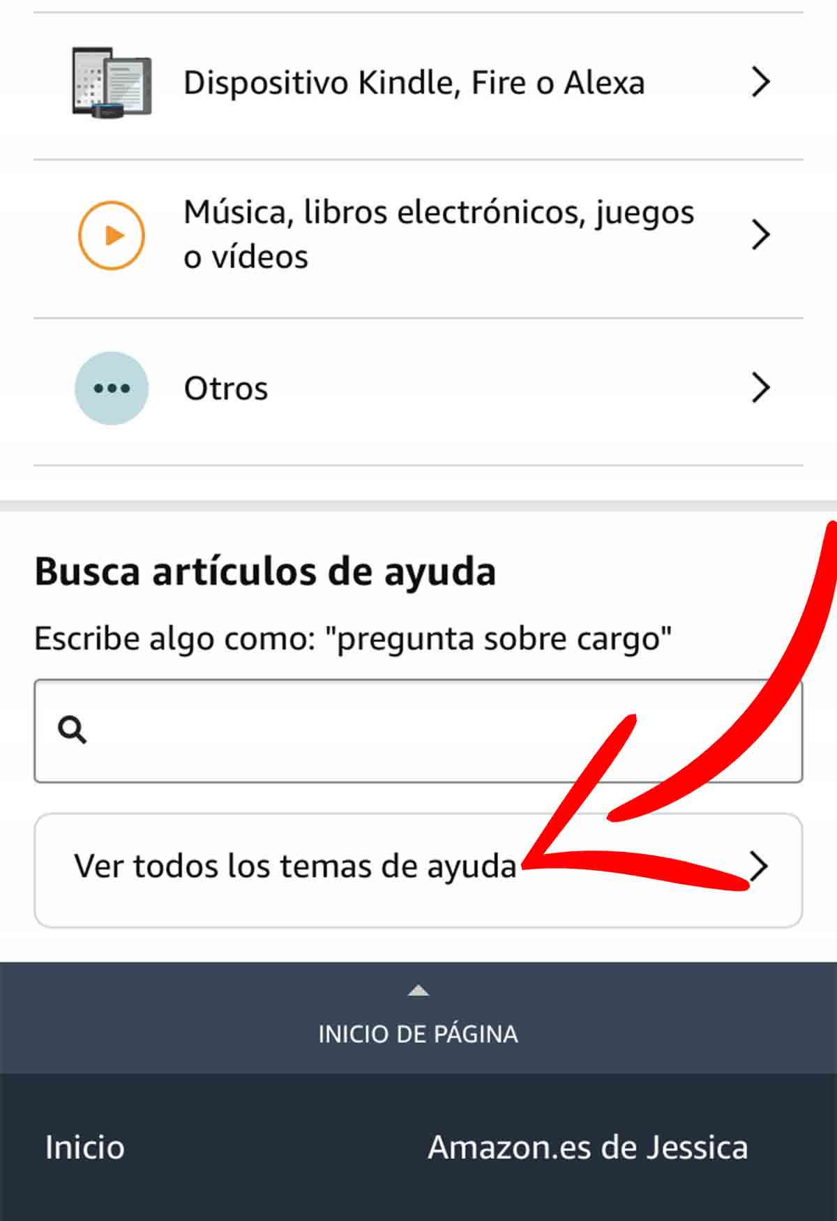 Todas las opciones de contacto de Amazon