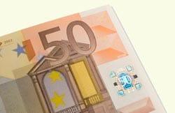 Parte de un billete de 50 euros.