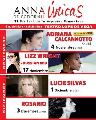 Adriana Calcanhotto, Lizz Wright, Lucie Silvas, Russian Red y Rosario en el festival Únicas
