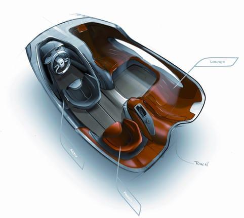 Interior del coche del futuro.