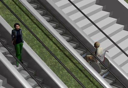 El diseño de la escalera mecánica es adecuado para todo tipo de usuarios con silla de ruedas