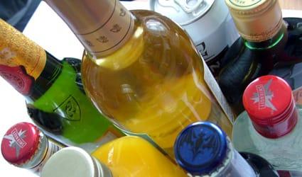 Botellas de alcohol.