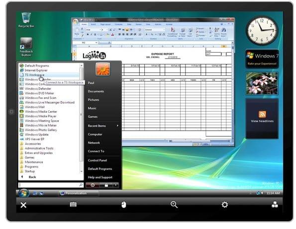 iPad con app de acceso remoto