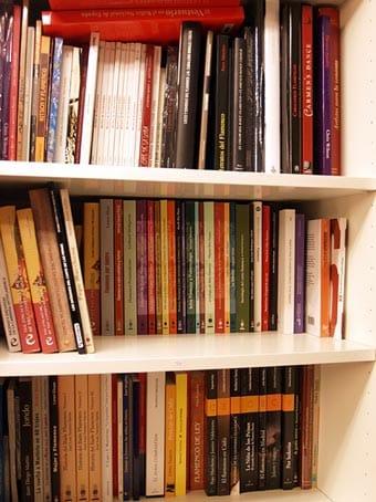 Libros de una biblioteca en una estantería.