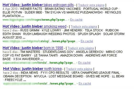 Resultados del malware con Justin Bieber