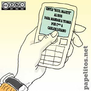 Viñeta de humor sobre le envío de SMS del program de Antena 3 Rico al Instante