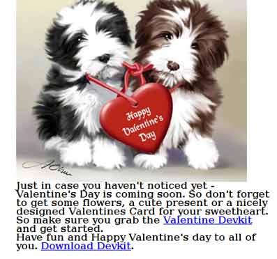 Felicitación spam de San Valentín