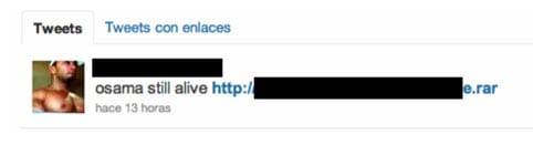 Enlace en twitter con malware con el gancho de la muerte de Bin Laden.