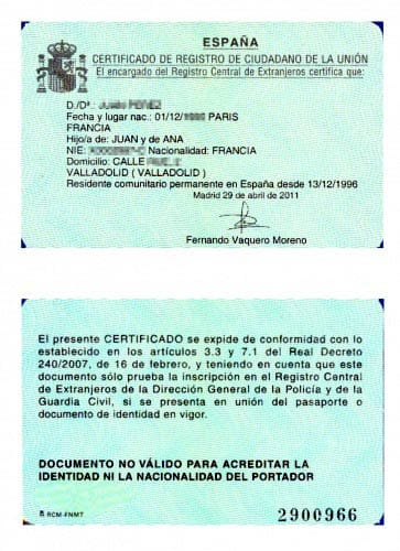 Documento de certificado de registro de ciudadano europeo.