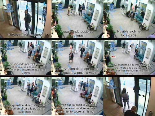 Secuencia de cómo 'marcan' a un anciano en una sucursal bancaria para después robarle.