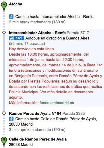 Itinerario de Google Transit en Madrid.