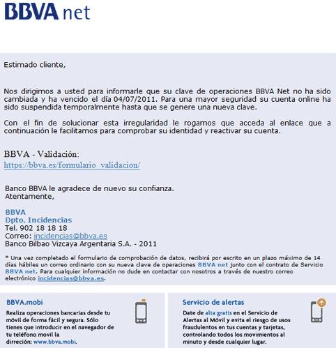 Imagen de un mail phishing a los clientes de BBVA.