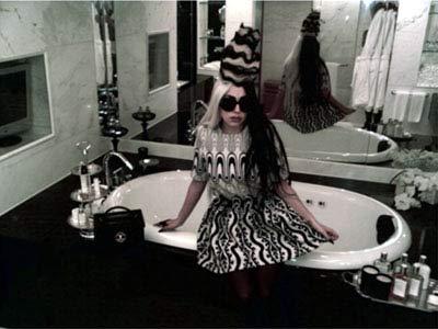 Lady Gaga con su maquillaje.