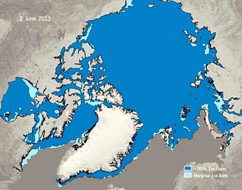 Mapa del deshielo del Ártico tomado por la ESA.
