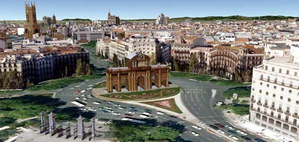 Recreación de la Puerta de Alcalá en 3D con la aplicación 'Tu mundo en 3D'.