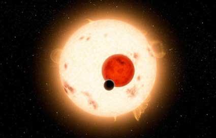 Recreación de la Nasa de un planeto que orbita dos estrellas, como Tatooine, el planeta de Star Wars con dos soles.