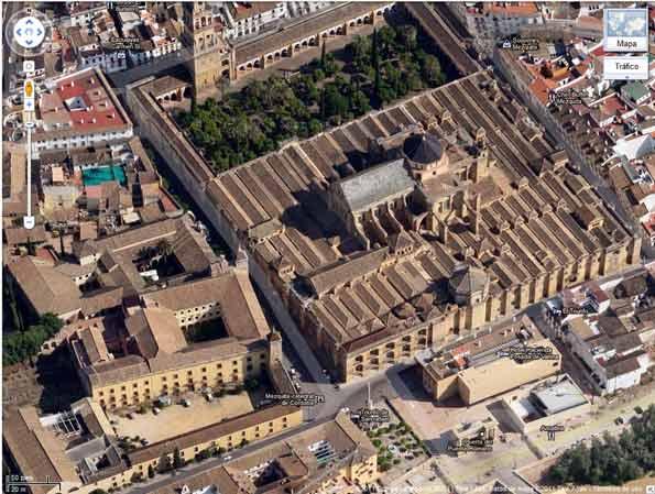 Vista aérea de Córdoba desde Google Maps.
