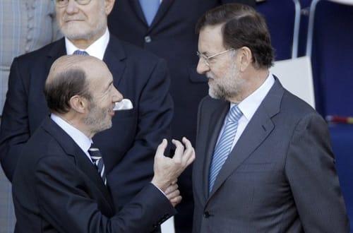 Políticos españoles, Rubalcaba y Rajoy.