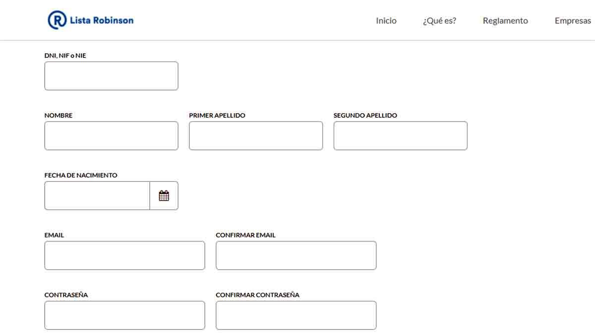Formulario de solicitud online