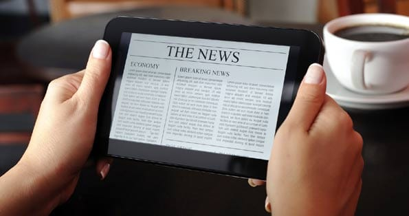 Tableta donde leer el periódico online.