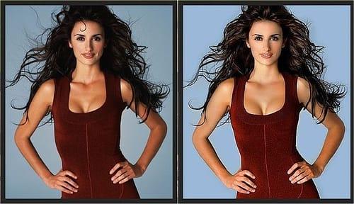 Retoques con el Photoshop en una fotografía de Penélope Cruz.
