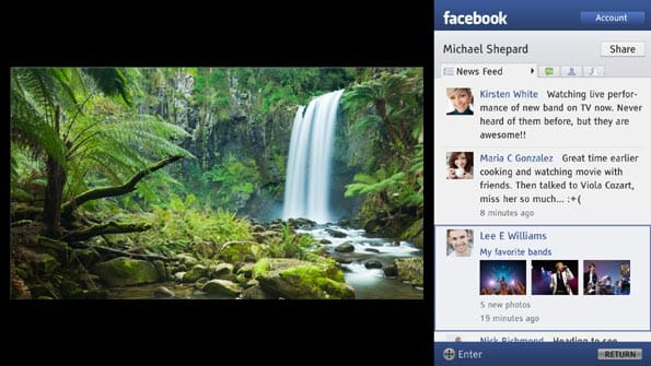 Facebook en un televisor Sony Bravia.