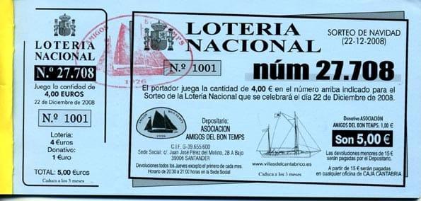 Participación de la lotería de Navidad.