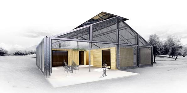 Casa invernadero solar.