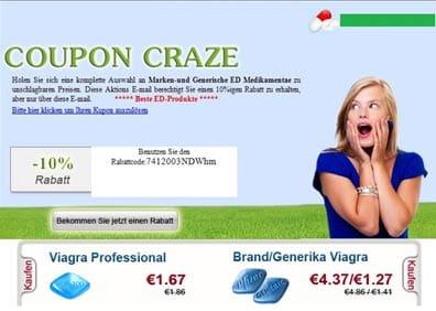 Spam donde se utiliza la técnica del 'cupón descuento' para publicitar las pastillas falsas de Viagra.