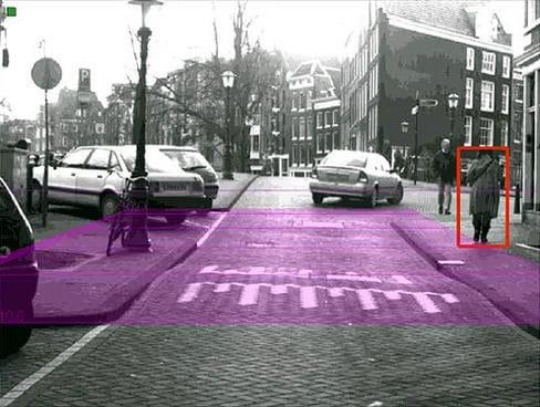 Visión de una cámara de coche para detectar peatones.