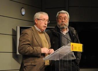 Los representantes sindicales, Toxo y Méndez.
