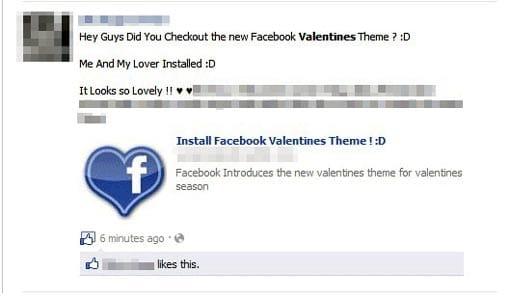 Mensaje en el muro con motivo de San Valentín para instalarte malware.