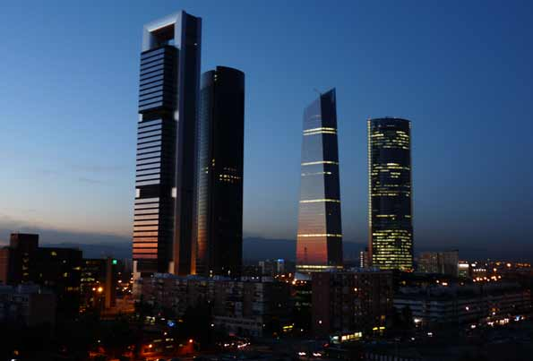 El skyline madrileño, con las 4 torres de la capital.