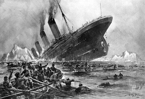 Ilustración del hundimiento del Titanic.