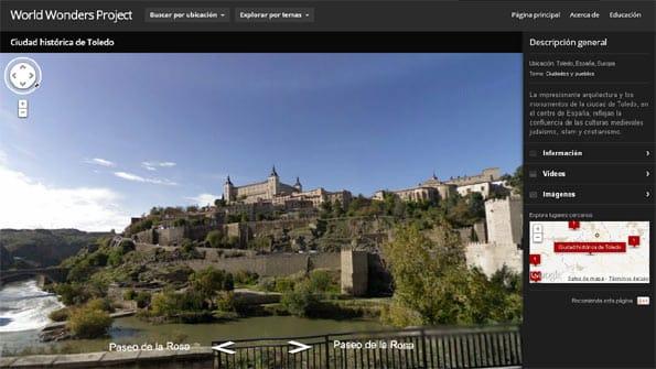 Toledo en la web World Wonders, que permite visitar los monumentos Patrimonio de la Humanidad online.