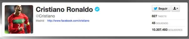 Imagen de la cuenta en Twitter del futbolista Cristiano Ronaldo.