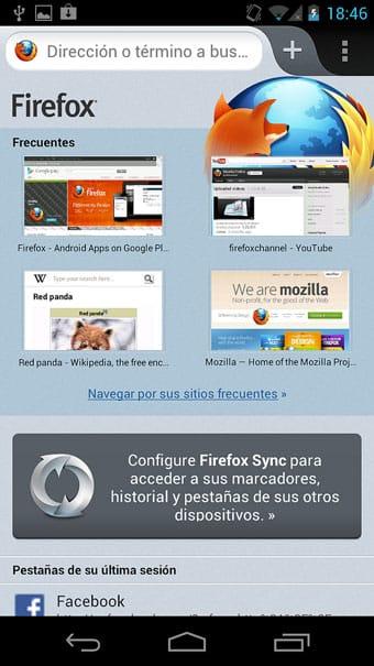 Nueva pantalla de Firefox para teléfonos Android.
