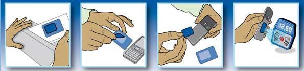 Pegatina que se pega al teléfono y permite hacer pagos móviles.