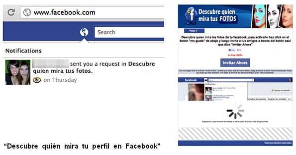 Pantallazo de la falsa aplicación en Facebook que promete decirte quién visita tus fotos.