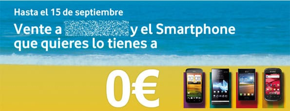 Promoción de teléfono gratis con un operador móvil.