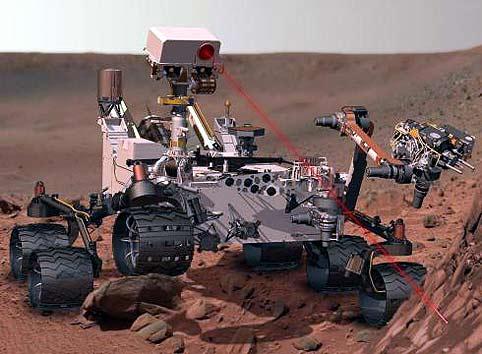El Curiosity en su llegada a Marte en agosto de 2012.