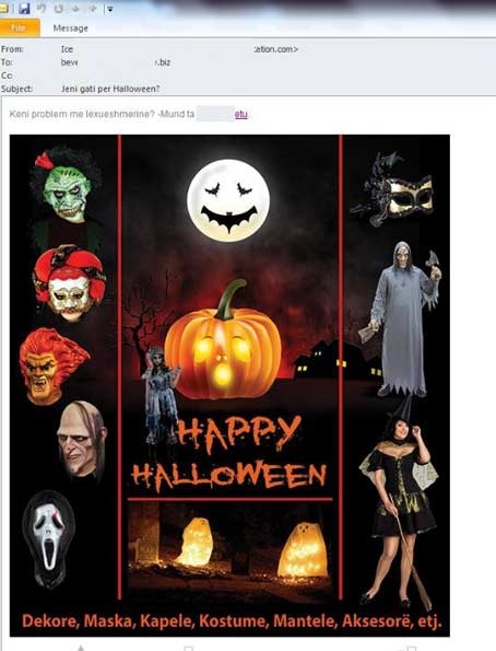 Anuncio con el gancho de Halloween que pretende captar datos personales a través del spam por correo.
