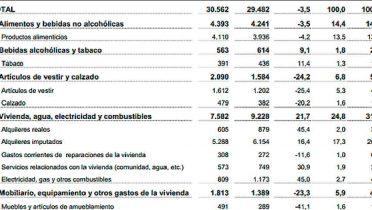 Cada hogar español gasta al año 29.482 euros y la media por persona de gasto es de 11.137 euros anuales