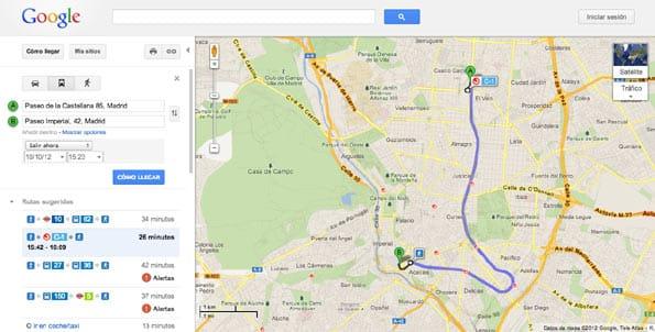 Mapa de Transit sobre cómo llegar a través del Cercanías de Madrid.